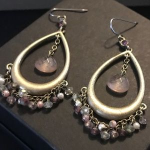 Jewelry - Chandelier Gold and Rose Quartz Earrings